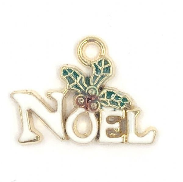 Enamel christmas Noel charm white  11mm x 19mm gold